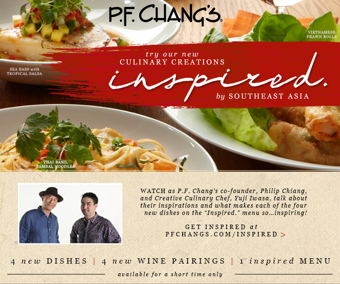 "Watch as P.F. Chang's co-founder, Philip Chiang, and Creative Culinary Chef, Yuji Iwasa, talk about their inspirations and what makes each of the four new dishes on the ""Inspired."" menu so...inspiring! Get inspired at PFChangs.com/Inspired"